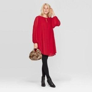 Bishop Long Sleeve Crewneck Pleated Shift Dress M